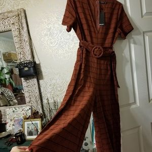 Nasty gal NWT suede check plaid jumpsuit belted